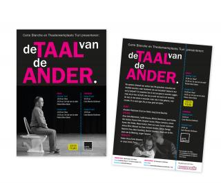Flyer voorstelling De Taal van de Ander voor Theaterwerkplaats Tiuri
