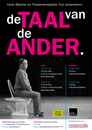 Poster voorstelling De Taal van de Ander voor Theaterwerkplaats Tiuri