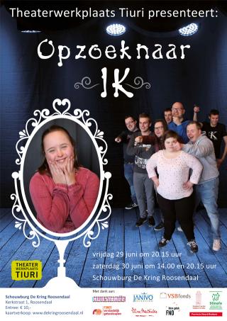 Poster voorstelling Op zoek naar IK voor Theaterwerkplaats Tiuri